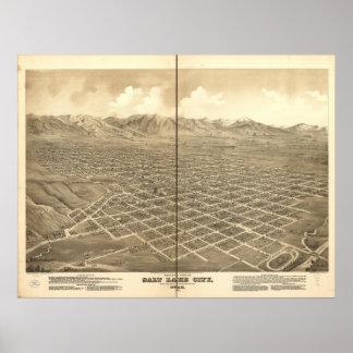 Salt Lake City Utah 1875 Antique Panoramic Map Poster