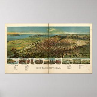 Salt Lake City Utah 1891 Antique Panoramic Map Poster