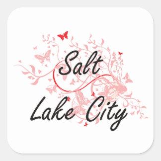 Salt Lake City Utah City Artistic design with butt Square Sticker
