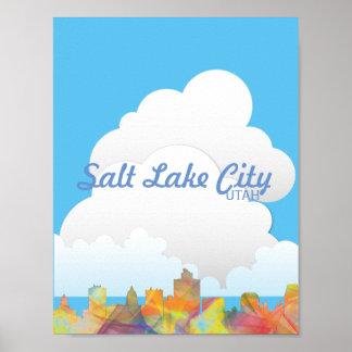 SALT LAKE CITY, UTAH SKYLINE WB1 - POSTER