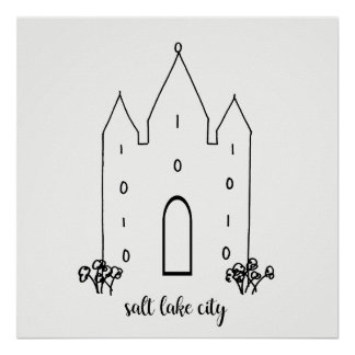 salt lake city utah temple simple modern poster