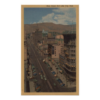 Salt Lake City, Utah - View of Main St. Poster