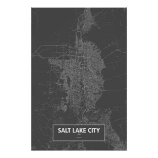 Salt Lake City, Utah (white on black) Poster