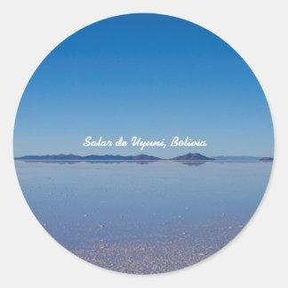 Salt Lake in Salar de Uyuni, Bolivia Round Sticker