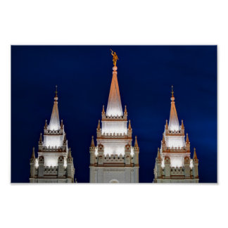 Salt Lake LDS Mormon Temple at Night Poster