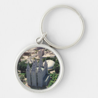 Salt Lake LDS Temple Silver-Colored Round Keychain