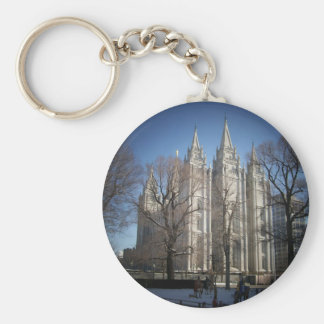 Salt Lake Temple Basic Round Button Keychain