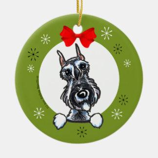 Salt Pepper Schnauzer Christmas Classic Round Ceramic Ornament