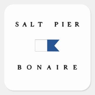 Salt  Pier Bonaire Alpha Dive Flag Square Sticker