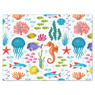 Salt water marine animals and life illustration tissue paper