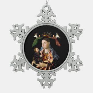 Salting Madonna and Christ Child Snowflake Pewter Christmas Ornament