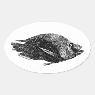 Salton Sea Dead Tilapia Oval Sticker