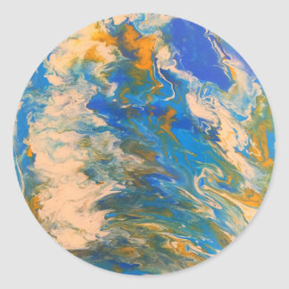 Saltwater Abstract Classic Round Sticker