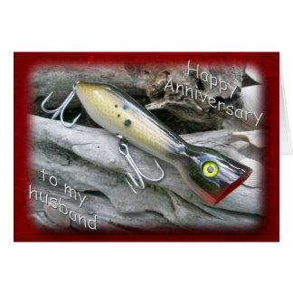 Saltwater Lure Popper Mullet Husband Anniversary Card
