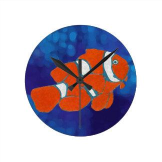 saltwater tropical clown fish round clock