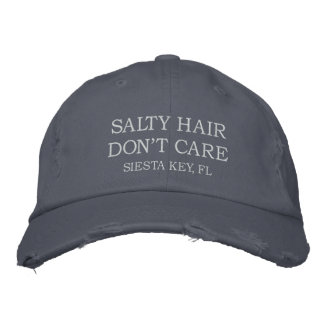Salty Hair Don't Care | Your City or Beach Name Embroidered Hat
