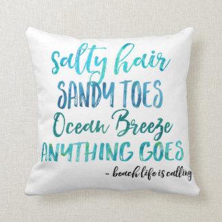 Salty Hair Sandy Toes Ocean Beach Throw Pillow