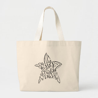 Salty Kisses and Starfish Wishes Hand Lettering Large Tote Bag