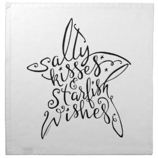 Salty Kisses and Starfish Wishes Hand Lettering Napkin