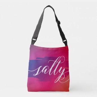 Salty modern watercolor slang words tote bag purse