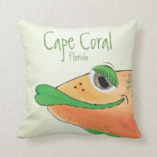 Salty Sam Adorable Fish Art Cape Coral FL Throw Pillow