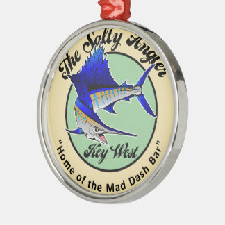 SaltyAngler Silver-Colored Round Ornament