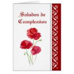 Saludos de Cumpleaños   Red PoppiesGarden Flowers Cards