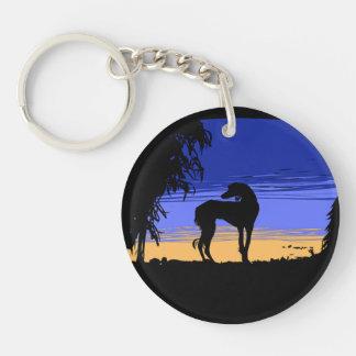 Saluki ate night Double-Sided round acrylic keychain