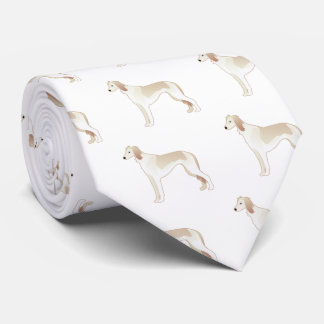 Saluki Basic Dog Breed Illustration Silhouette Tie