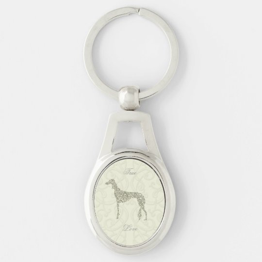 Saluki Collection Silver-Colored Oval Keychain