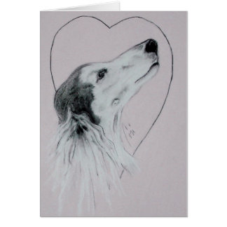 Saluki Dog Valentine's Day Card