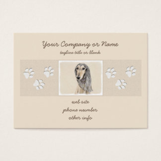 Saluki (Fawn) Painting - Cute Original Dog Art Business Card