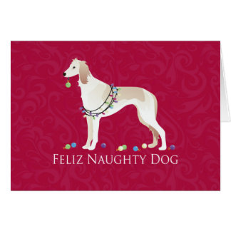 Saluki Feliz Naughty Dog Christmas Design Card