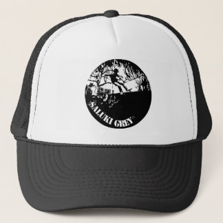 saluki grey new logo. trucker hat