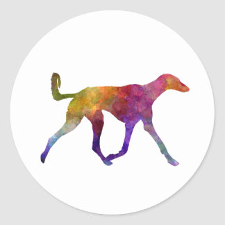 Saluki in watercolor classic round sticker
