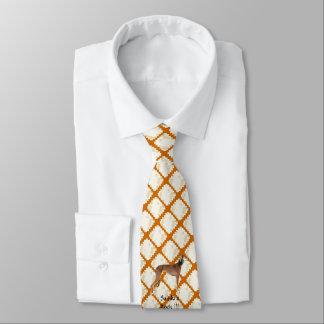 Saluki on Tan Leaves Tie