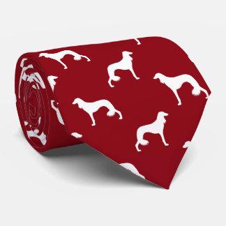 Saluki Silhouettes Pattern Red Tie