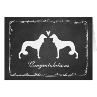 Saluki Silhouettes Wedding Congrats Card