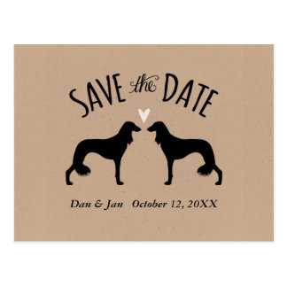 Saluki Silhouettes Wedding Save the Date Postcard