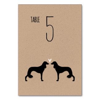 Saluki Silhouettes Wedding Table Card