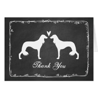 Saluki Silhouettes Wedding Thank You Card