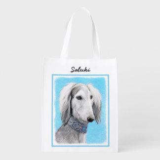 Saluki (Silver) Painting - Cute Original Dog Art Reusable Grocery Bag