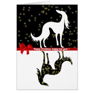 Saluki YIN Happy Christmas, Happy new year Card