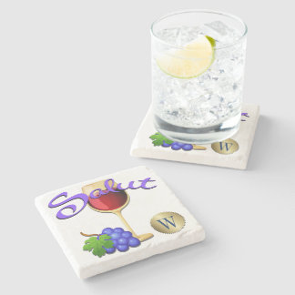 Salut Wine Grapes Monogram Coaster