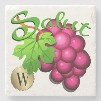 Salut Wine Grapes Monogram Coaster Stone Beverage Coaster