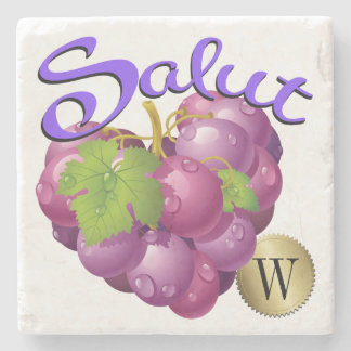 Salut Wine Grapes Monogram Coaster Stone Coaster