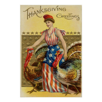 Salutation américaine de thanksgiving vintage