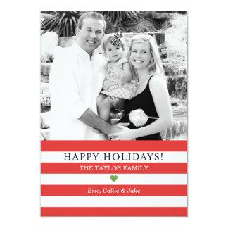 Salutation gaie de Noël de photo de rayures Carton D'invitation 12,7 Cm X 17,78 Cm
