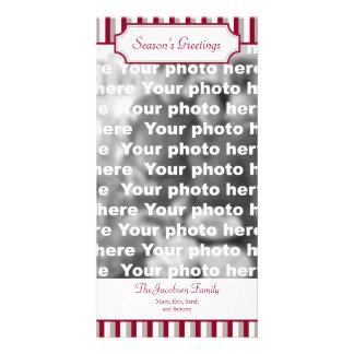 Salutation verticale de vacances de Noël de rayure Photocarte Customisée