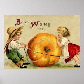 Salutation vintage mignonne de thanksgiving